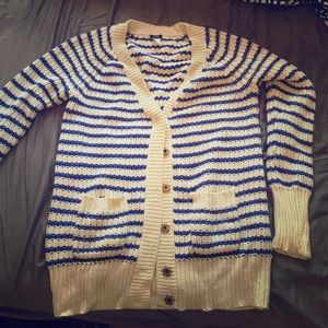 J. Crew Sweaters - Blue and white striped heavy cardigan, JCrew