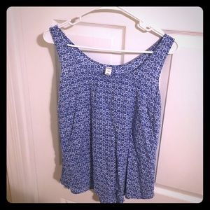 Blue and white patterned Old Navy tank