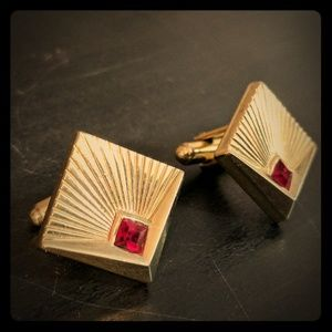 Speidel Other - Vintage Speidel Art Deco Gold and Red Cufflinks