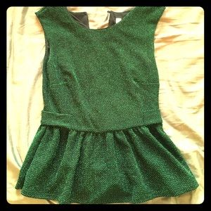 Alice Moon Tops - Green sparkly peplum top, stretchy