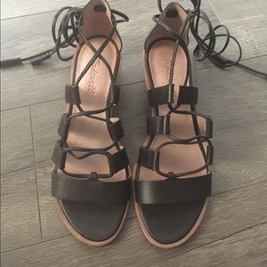 Madewell black lace up sandals