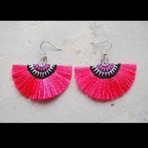 New pink tribal thread fan fringe earrings