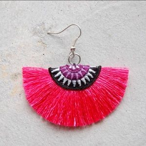 Jewelry - New pink tribal thread fan fringe earrings