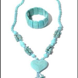 Blue Howlite Glass, Chroma, Tassle  necklace Set.