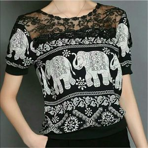 Tops - Split lace printed blouse with elephants
