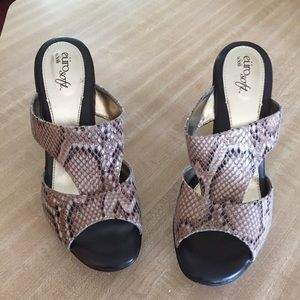 Soft Gallery Shoes - EUC Snakeskin Slip on Heels by Soft.
