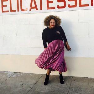 ASOS Dresses & Skirts - ASOS Satin Pleated Midi Skirt