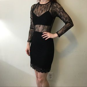 Lovers + Friends Black Cut Out Lace Sexy Dress