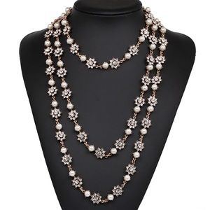 Jewelry - 3 Layer Crystal Flower Dress Statement Necklace