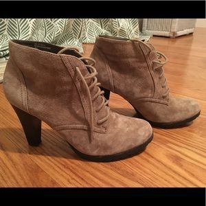Suede Booties - Worn Once - Lace-up w. Heels