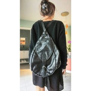 Handbags - VINTAGE leather biker backpack