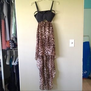 Dresses & Skirts - Sexy Leopard Maxi Dress Cutouts Open Back High Low