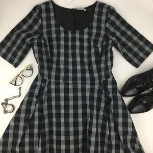 eshakti Dresses & Skirts - eShakti Plaid Midi Dress with Button Detail