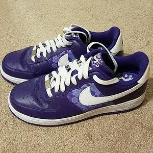 Purple floral Nike Air Force 1s Sz 9 Wmns