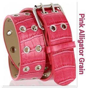 Pink Leather Alligator Grain Belt
