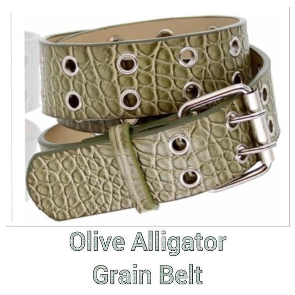 Boutique Accessories - Leather Olive Alligator Belt