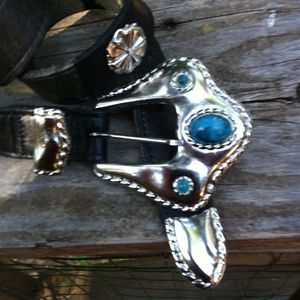 Accessories - Faux turquoise on silver on black belt