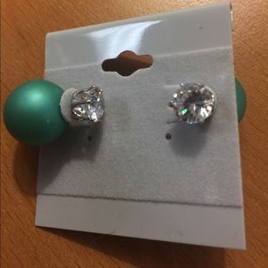 Jewelry - New Green and Silver Double Stud Earrings