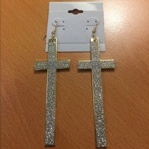 Jewelry - New Long Silver and Gold Cross Earrings 😎