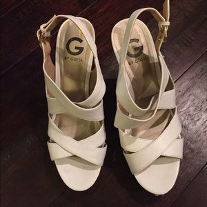 Guess Shoes - Gently Loved White Guess Wedges