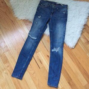 Zara destroyed light wash skinny jeans