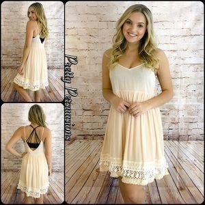 Pretty Persuasions Dresses & Skirts - NWT Crochet Fringe Hem Almond Baby Doll Slip Dress