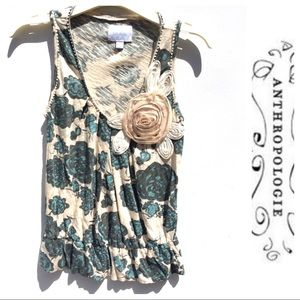 Anthropologie DELETTA green floral top XS 0 2