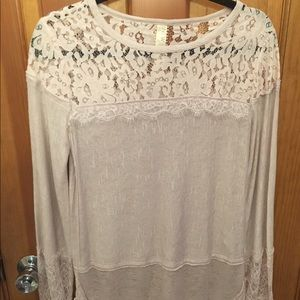 Free People Long Sleeve Lace Rose Top XS