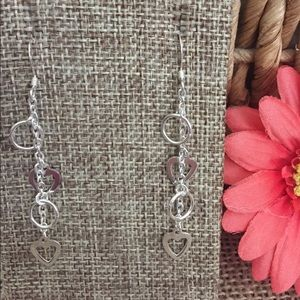 Jewelry - 🇺🇸 Heart Dangle Earrings Sterling Silver