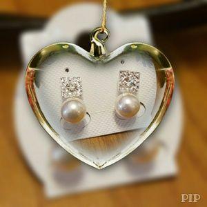 Paved Rhinestone & Square Pearl Earrings