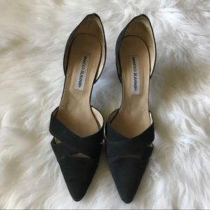 Manolo Blahnik Shoes - Black Linen Manolo Blahnik