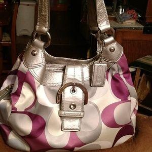 Coach Handbags - Coach Silver & Purple Trendy Shoulder Bag!