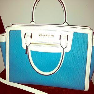 Michael Kors Handbags - Authentic MK top zip canvas satchel in teal &white