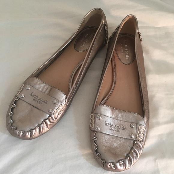 7fe1ce771e0 kate spade Shoes - Kate Spade Gold Metallic Loafer Flats