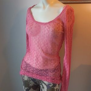 Free People Tops - $15 if bundled! Free People Coral Sheer Blouse