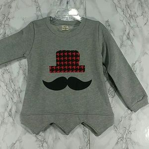 Other - SALE***Gray and Red Mustache Sweatshirt. Kids   :)