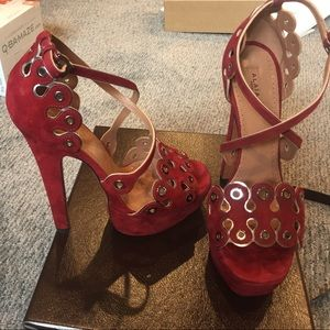 Alaia Shoes - Alaia red and silver suede sandals