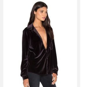LPA Tops - LPA Top 16 velvet button down shirt blouse
