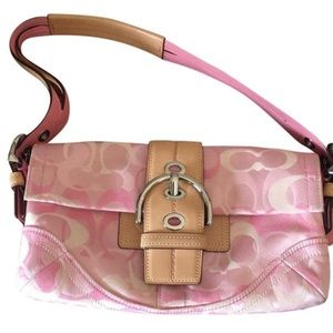 Pink and leather Coach purse