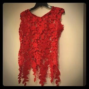 ModCloth Miss Finch Red Floral Lace Top