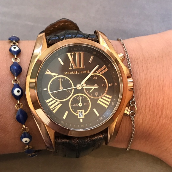 Michael Kors Rose Gold Watch With Brown Face