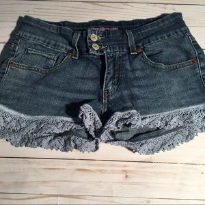 Levi's superlow flare denim shorts