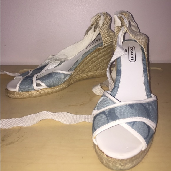 Coach Shoes Nwt Baby Blue Logo Wedges
