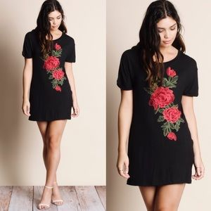 EMMIE embroidered tee dress/tunic - BLACK