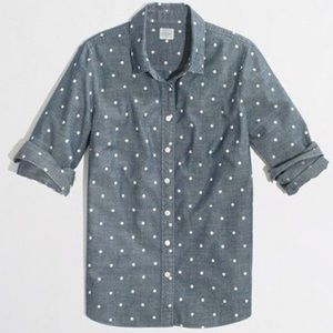 J Crew chambray polka dot shirt