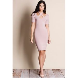 Halter Criss Cross Dress - BLUSH