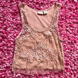 Buckle Tops - Embellished nude crop top