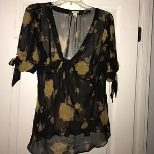 Odille Tops - 100% Silk Sheer floral blouse