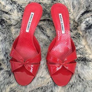 Manolo Blahnik Shoes - Manolo Blahnik leather red kitten heels open toe