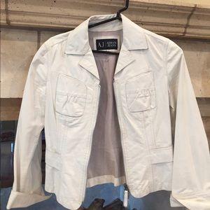 Armani Jeans Jackets & Blazers - ARMANI JEANS cream leather jacket